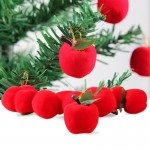 12 PCS Christmas Tree Decoration Red Apple Hang Ornament with Lanyard