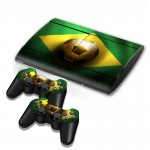 Brazil Flag Pattern Decal Stickers for PS3 Game Console
