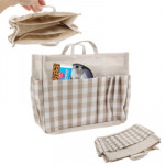 Four Lattice Pattern Storage Jute Bags , Size: 22.5 x 9.5 x 18cm