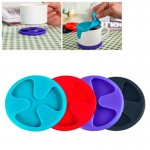 Anti-slip Silicone Red Wine & Tea & Coffee Cup Mat / Cup Lid, Random Color Delivery