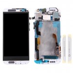 iPartsBuy for HTC One M8 LCD Screen + Touch Screen Digitizer Assembly with Frame & Front Glass Lens Cover (Top+Bottom)(White)