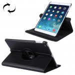 For iPad 9.7 inch 2017 & Air 2 & Air 360 Degree Rotation Litchi Texture Leather Case with 2 Gears Holder(Black)