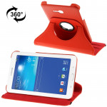 360 Degree Rotatable Litchi Texture Leather Case with 2-angle Viewing Holder for Samsung Galaxy Tab 3 Lite T110 / T111 (Red)