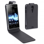 Vertical Flip Leather Case for Sony Xperia TX / LT29i, Black
