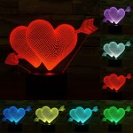 Arrow Through Heart Style USB Charging 7 Colour Discoloration Creative Visual Stereo Lamp 3D Touch Switch Control LED Light Desk