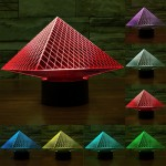 Pyramid Style USB Charging 7 Colour Discoloration Creative Visual Stereo Lamp 3D Touch Switch Control LED Light Desk Lamp Night