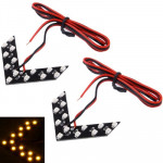 Universal Yellow 14 LED 3528 SMD Arrows Light for Car Side Mirror Turn Signal (Pairs)