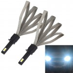 2 PCS S7 H1 40W 3200 LM 6000K IP68 Car Headlight with 2 COB Lamps and Heat Dissipation Cable, DC 9-30V(White Light)