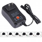 US Plug Universal 30W Power Wall Plug-in Adapter with 5V 2.1A USB Port, Tips: 6 PCS, Cable Length: About 1.2m