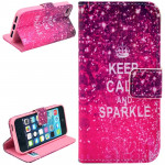 Keep Calm and Sparkle Pattern Leather Case with Credit Card Slots & Holder for iPhone 5 & 5S