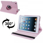 360 Degree Rotatable Litchi Texture Leather Case with Holder for iPad mini 1 / 2 / 3 (Pink)