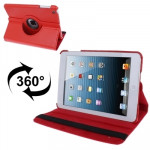 360 Degree Rotatable Litchi Texture Leather Case with Holder for iPad mini 1 / 2 / 3 (Red)