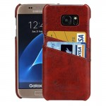 For Samsung Galaxy S7 / G930 Oil Wax Texture Leather Back Cover Case with Card Slots (Brown)