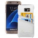 For Samsung Galaxy S7 / G930 Litchi Texture Fashion Genuine Leather Back Cover Case with Card Slots(White)