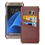 For Samsung Galaxy S7 Edge / G935 Litchi Texture Fashion Genuine Leather Back Cover Case with Card Slots(Brown)