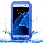 For Samsung Galaxy S7 / G930 IPX8 Plastic + Silicone Transparent Waterproof Protective Case with Lanyard (Blue)