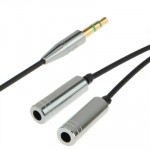 3.5mm Male to 2 Female Frequency Line/ Splitter Adapter for iPhone 5 / iPhone 4S & 4 / iPad / iPod Length: 25cm (Silver)