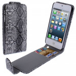 Snakeskin Texture Leather Case with Credit Card Slots for iPhone 5 & 5s & SE & SE(Black)