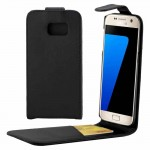 For Samsung Galaxy S7 / G930 Plain Texture Vertical Flip Leather Case Waist Bag with Magnetic Buckle & Card Slot(Black)
