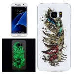 For Samsung Galaxy S7 Edge / G935 Noctilucent Feather Pattern IMD Workmanship Soft TPU Protective Case