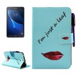 For Samsung Galaxy Tab A 7.0 (2016) / T280 Lips and Leaves Pattern Horizontal Flip Leather Case with Holder & Wallet & Card Slot