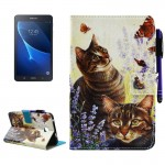For Samsung Galaxy Tab A 7.0 (2016) / T280 Cats and Butterflies Pattern Horizontal Flip Leather Case with Holder & Wallet & Card