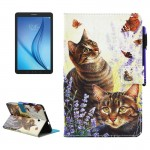 For Samsung Galaxy Tab E 8.0 / T377 Cats and Butterflies Pattern Horizontal Flip Leather Case with Holder & Wallet & Card Slots