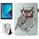 For Samsung Galaxy Tab S3 9.7 inch T820 / T825 Glasses Owl Pattern Horizontal Flip Leather Case with Holder & Wallet & Card Slot