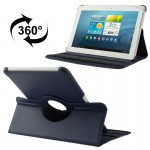 360 Degree Rotatable Litchi Texture Leather Case with Holder for Samsung Galaxy Tab 2 (10.1) / P5100(Dark Blue)