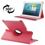 360 Degree Rotatable Litchi Texture Leather Case with Holder for Samsung Galaxy Tab 2 (10.1) / P5100(Magenta)