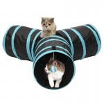 Foldable 3 Exits Exercising Cat Tunnel with A Hanging Ball