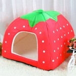 Strawberry Shaped Foldable Short Plush Pet House Nest, Size: S(Red)