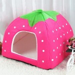 Strawberry Shaped Foldable Short Plush Pet House Nest, Size: S(Pink)