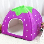 Strawberry Shaped Foldable Short Plush Pet House Nest, Size: S(Purple)