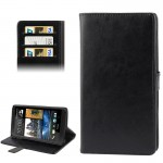 Crazy Horse Texture Leather Case with Credit Card Slot & Holder for HTC One Max / T6 / 809d (Black)