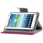Universal Crazy Horse Texture Horizontal Flip Leather Case with Holder for 7 inch Tablet PC(Magenta)