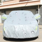 PEVA Anti-Dust Waterproof Sunproof Hatchback Car Cover with Warning Strips, Fits Cars up to 4.5m(177 Inches) In Length