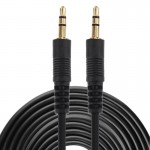 Aux Cable, 3.5mm Male Mini Plug Stereo Audio Cable, Length: 10m (Black + Gold Plated Connector)