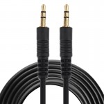 Aux Cable, 3.5mm Male Mini Plug Stereo Audio Cable, Length: 3m (Black + Gold Plated Connector)