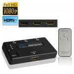 3 Port Amplifier 1080P HDMI Switch, 1.3 Version, with Remote Controller(Black)