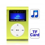 TF (Micro SD) Card Slot MP3 Player with LCD Screen, Metal Clip (Light Green)