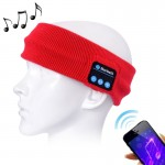 Knitted Bluetooth Headsfree Sport Music Headband with Mic for iPhone / Samsung and Other Bluetooth Devices (Red)