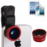 Objectif iPhone Multifonction 3 en 1 photo Kits Lens 180 degrés Fisheye + Super Wide lentille macro, l'iPhone, Galaxy, Sony, ...