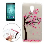 For Wiko Robby Cherry Tree Pattern Transparent TPU Soft Protective Back Cover Case