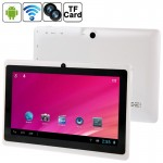 7.0 inch Tablet PC, 512MB+8GB, Android 4.0 360 Degree Menu Rotate, Allwinner A33 Quad Core, 1.5GHz(White)