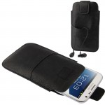 Universal Leather Case Pocket Sleeve Bag with Earphone Pocket for Samsung Galaxy Note II / N7100 / i9220 (Black)