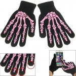 Skeleton Fingers Coating 3 Points Capacitive Touch Screen Gloves(Pink)