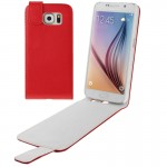 For Samsung Galaxy S6 / G920 Vertical Flip Magnetic Snap Leather Case(Red)