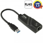 USB 3.0 10 / 100 / 1000Mbps Ethernet Adapter for Laptops, Plug and play(Black)