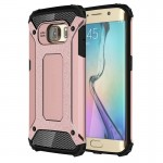 Coque renforcée Galaxy S6 Edge Samsung bord / G925 robuste armure TPU + Case Combinaison PC or rose - wewoo.fr